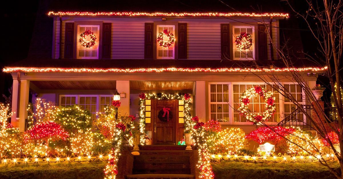 Christmas lights on nice home