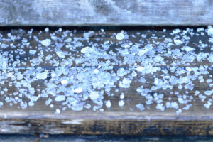 Road Rock Salt on Wooden Stair Step