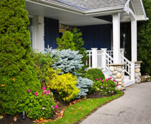 Front entrance of house with garden edge